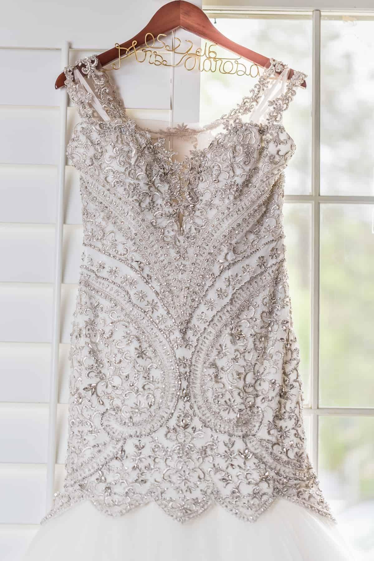 Elaborately beaded wedding dress