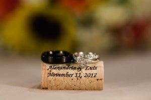 Wedding rings placed on cork