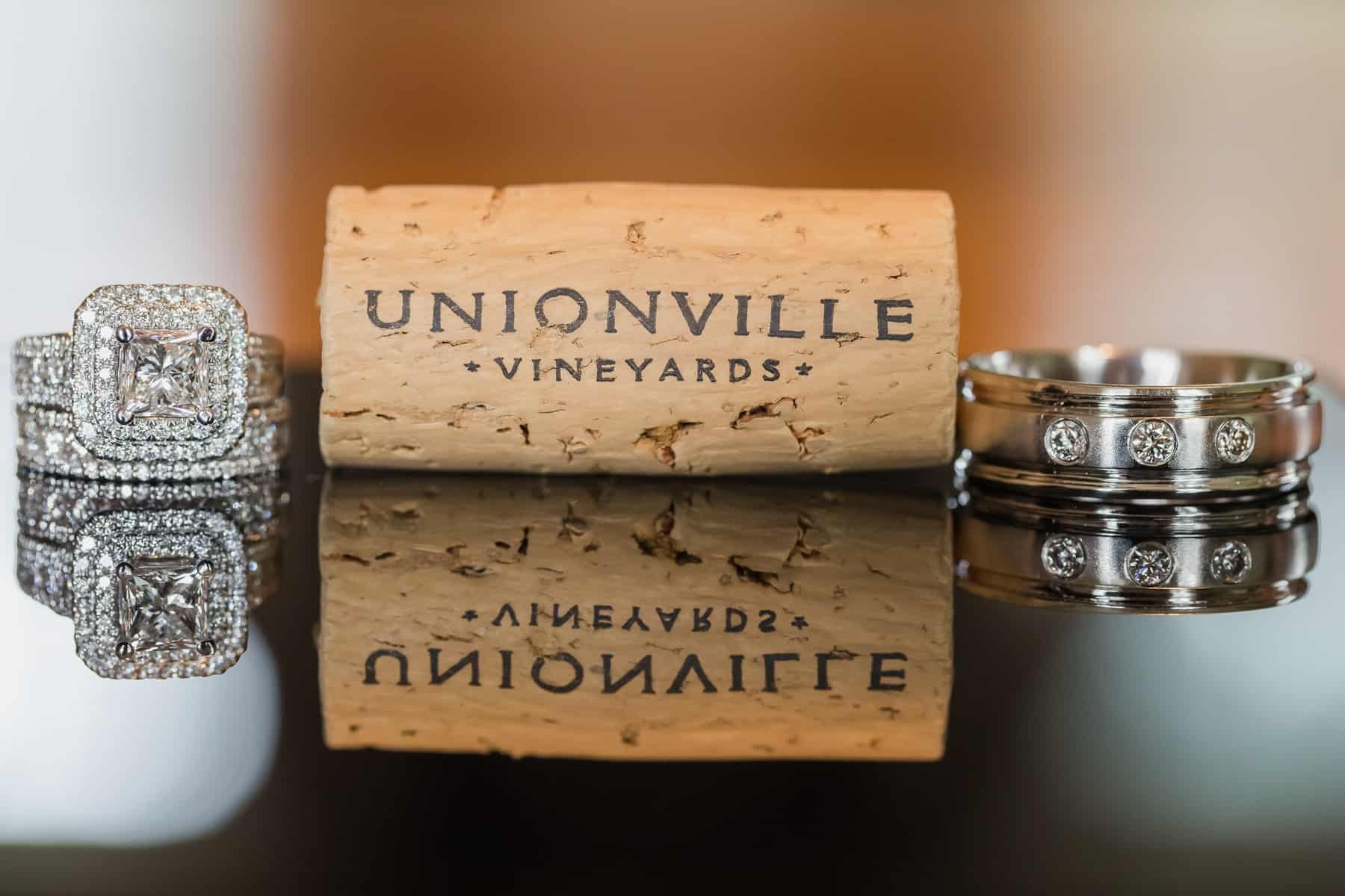 Wedding rings with winery cork