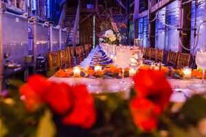 Long wedding table in winery