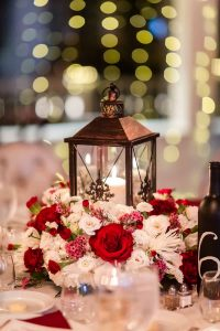 Red and white wedding table decorations