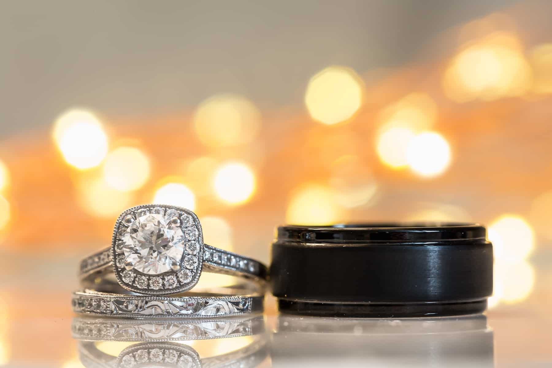 Wedding rings with back lighting