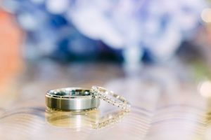 Wedding rings on glass table
